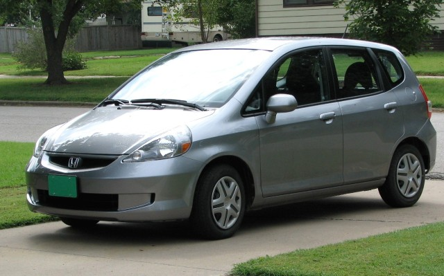 Kansas Honda Fit with Green License Plate